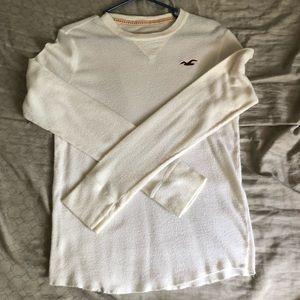 Hollister creme long sleeve thermal men's small
